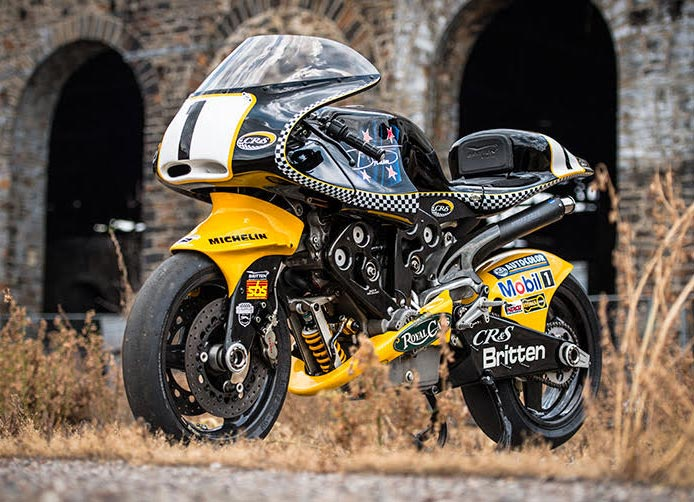 A Britten V1000 resplendent in the black and yellow colour scheme
