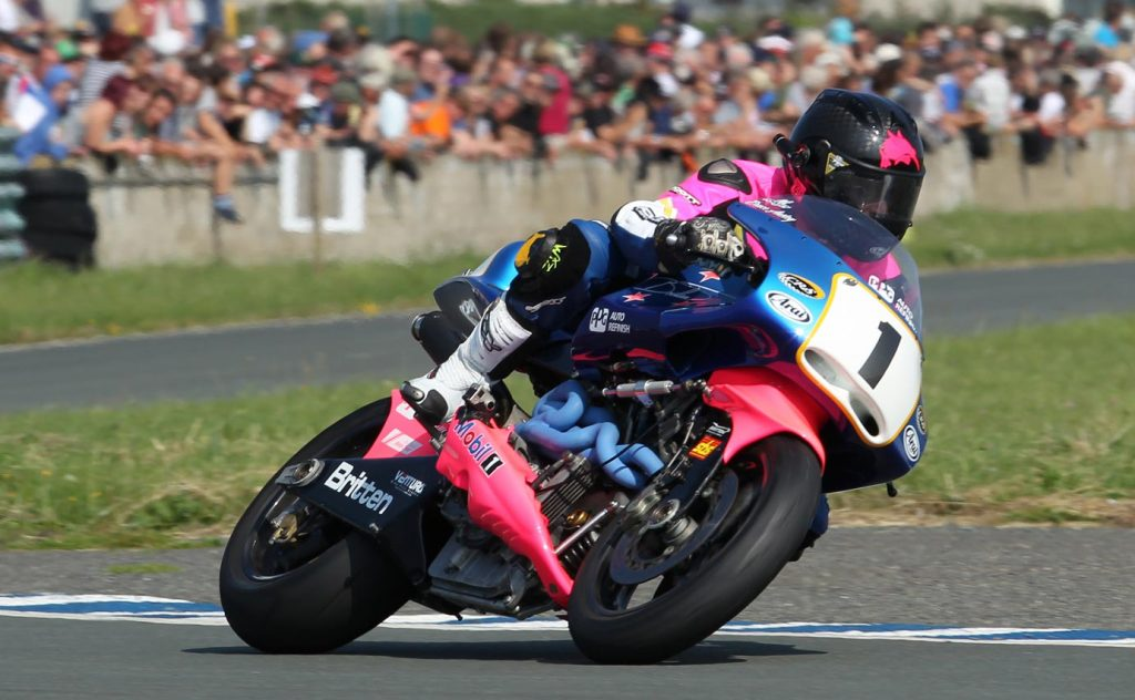 New Zealander Bruce Anstey riding the Britten at the Festival of Motorcycling on the former airfield at Jurby