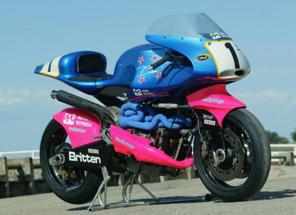 A Britten V1000 in the famous purple and pink colour scheme