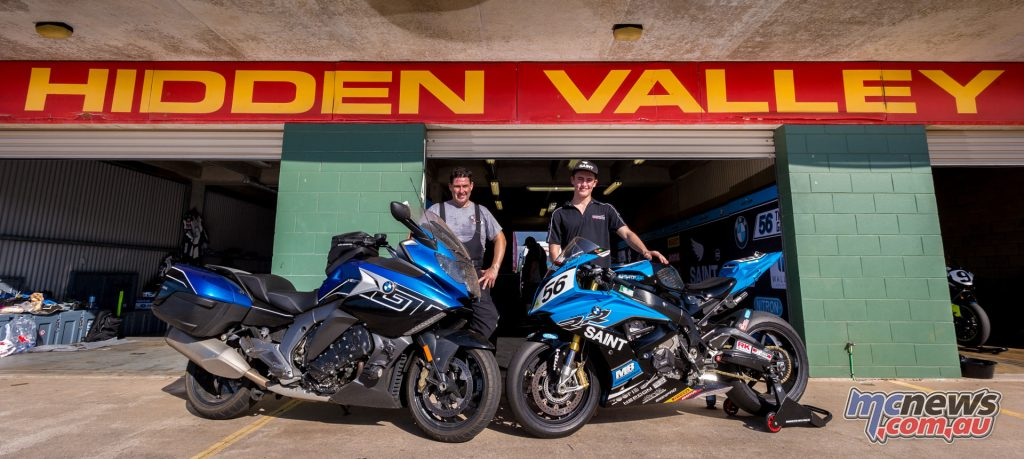 Trev parked the K 1600 GT up next to Troy Guenther's NextGen Motorsports S 1000 RR for a photo when he arrived in Darwin. Image by TBG