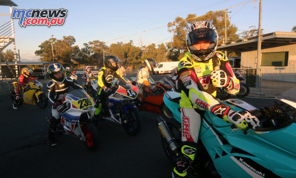 Garry McCoy and the GP Juniors heading on track