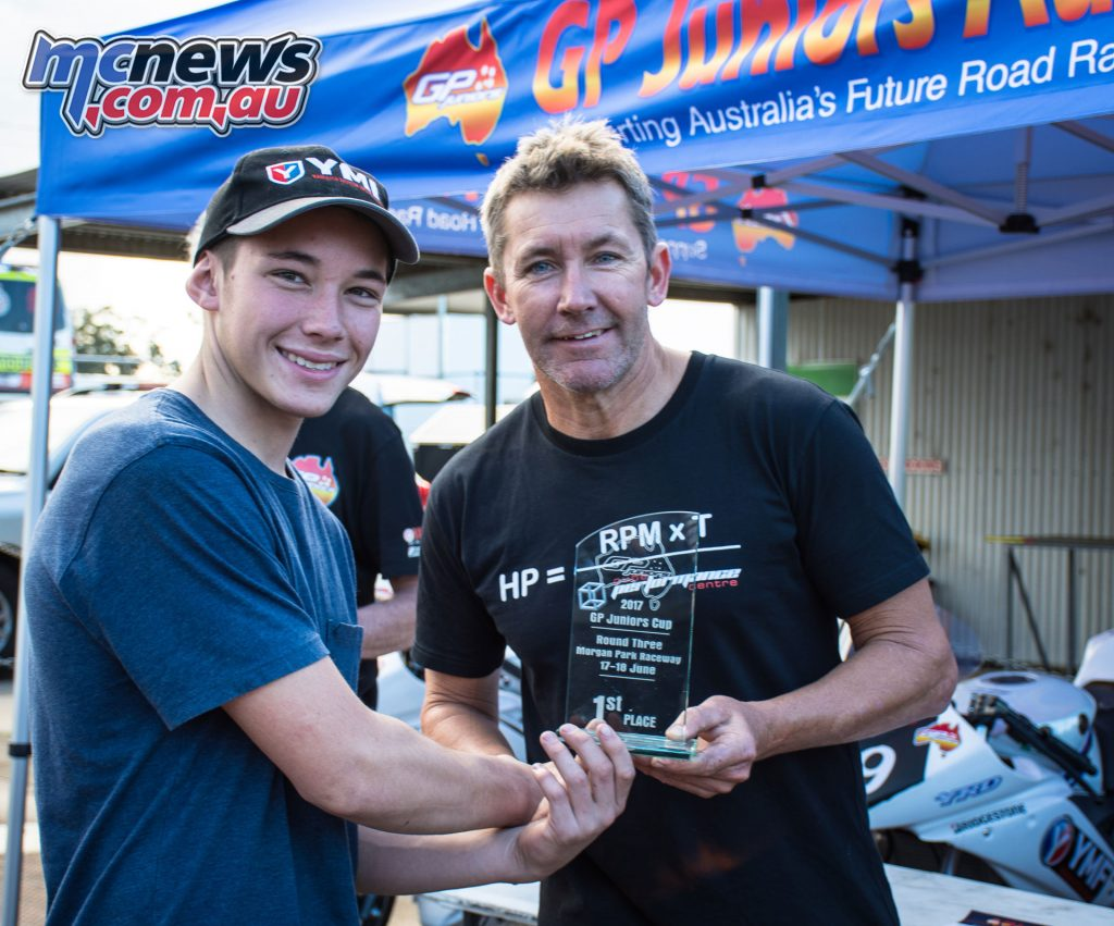 Tom Edwards with three-time WorldSBK Champion and road race legend Troy Bayliss