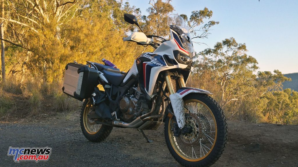 The Honda Africa Twin with ABS in the Tri-Colour scheme