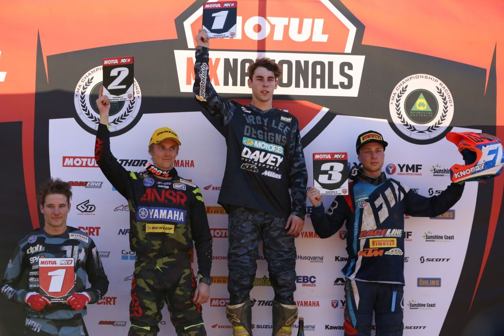 Egan topped the MX2 overall podium and was joined by Richardson and Rykers