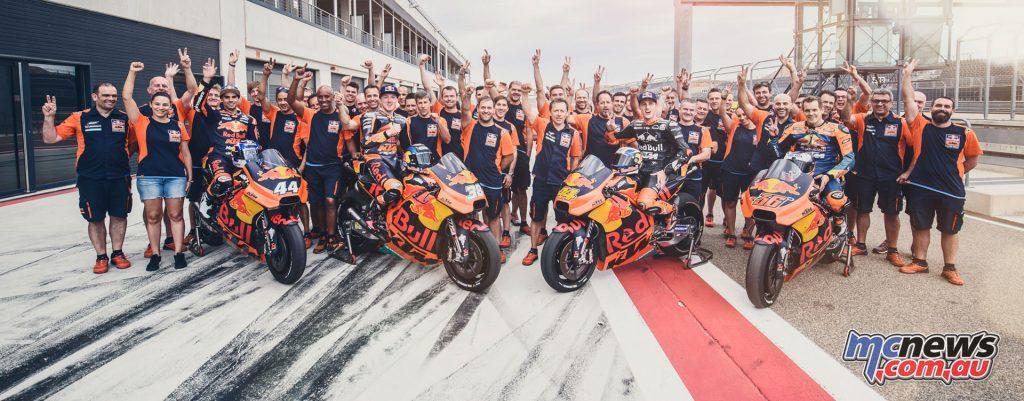 The Red Bull KTM MotoGP Factory Racing Team with Miguel Oliveira, Bradley Smith, Pol Espargaro and Mika Kallio