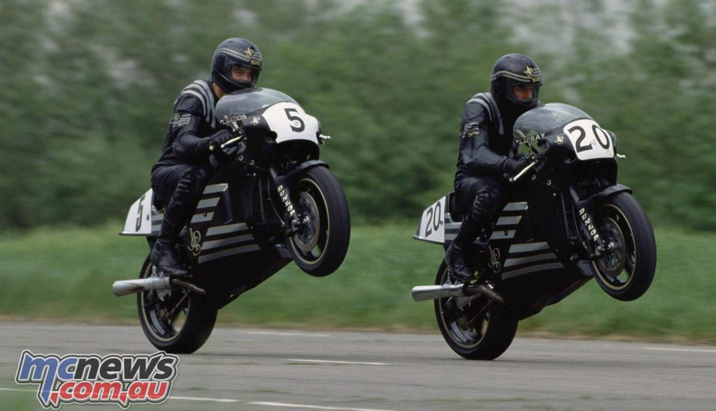 Trevor Nation and Steve Spray together on Norton Rotary machines. Steve Spray won the British Formula 1 Championship on the bike in 1989