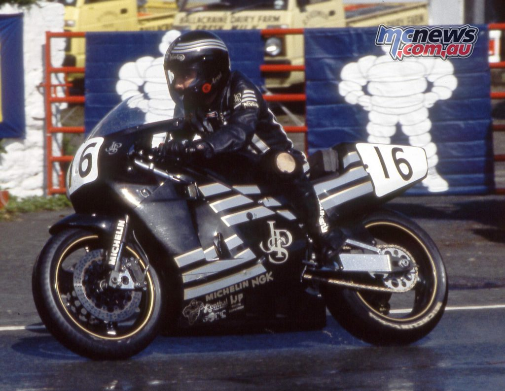 Robert Dunlop, father of current TT stars Michael and William, aboard the Norton Rotary in the early 1990s