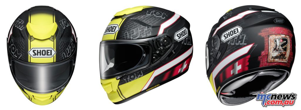 The Shoei GT Air helmet in the Tom Luthi replica edition