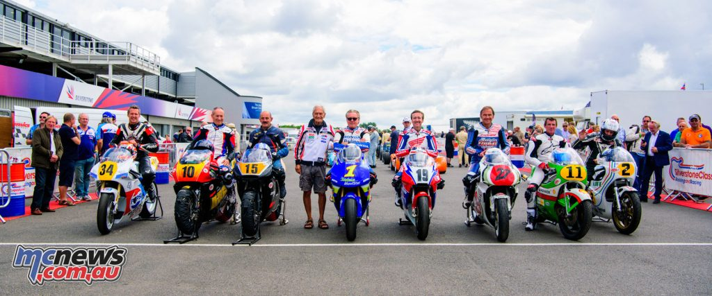 Legends at the Silverstone Classic, including Wayne Gardner