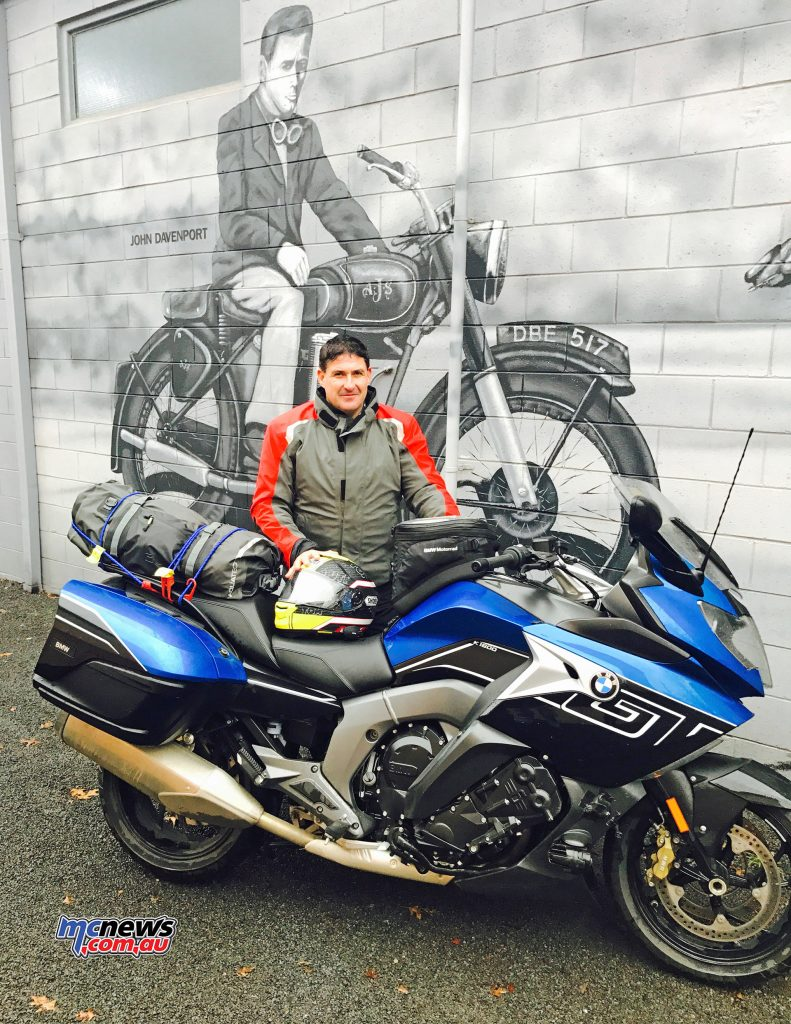 Trev rugged up in the BMW Street Guard suit behind the 2017 K 1600 GT. The wall behind is a feature mural on the wall of a motorcycle service centre in Alexandra, adjacent to Davenport Auto Electrics, opposite the Caltex Service Station.