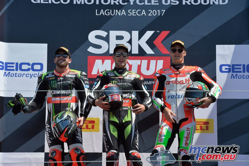 Race 2 Podium at Laguna Seca - Jonathan Rea took the top spot, followed by Tom Sykes and Chaz Davies