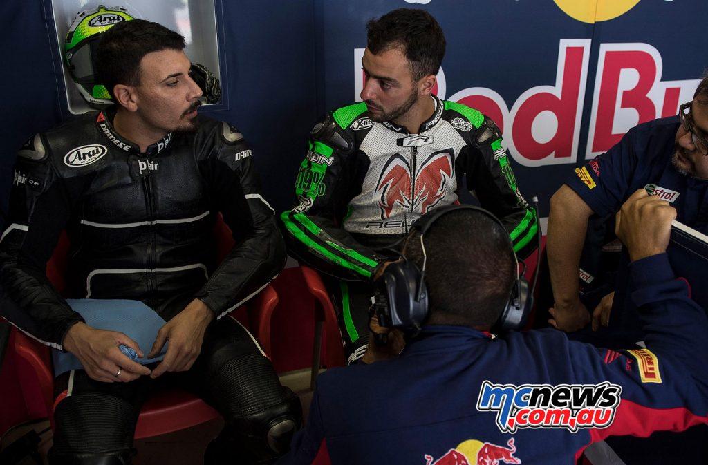 Red Bull Honda tested with Davide Giugliano and Michele Magnoni.