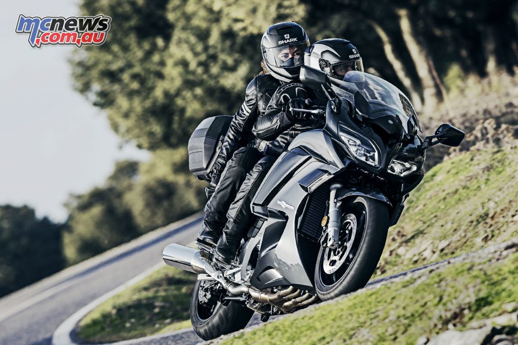 145 horsepower ticks the grunt box, while the pillion gets a broad but supportive perch