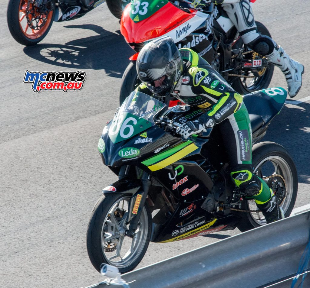 Oli Bayliss blasts off the line from pole position in the opening Supersport 300 race of the day at Morgan Park