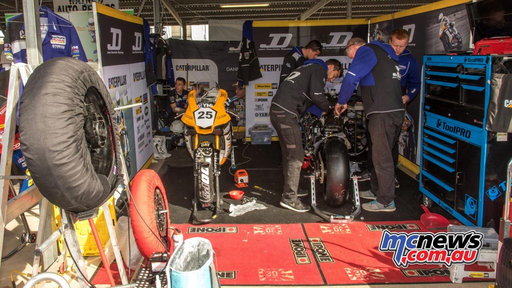 JD Racing had a long night and early morning repairing Daniel Falzon's crashed YZF-R1 - Image by Half Light