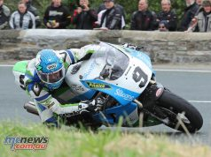 Dean Harrison (750 Kawasaki/Silicone Engineering) at the Gooseneck during Tuesday's Motorsport Merchandise Superbike Classic TT race. PICTURE BY DAVE KNEEN