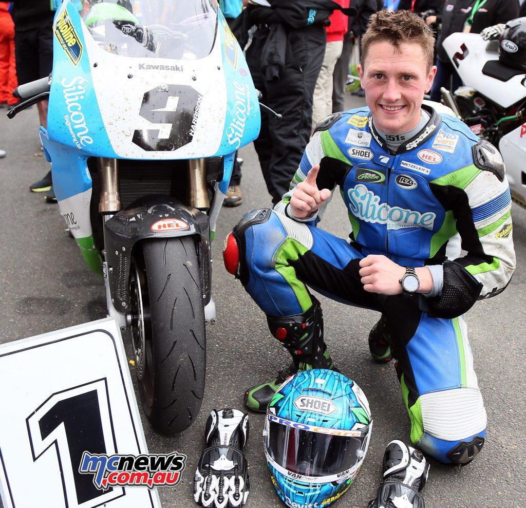 Dean Harrison takes the win in the Motorsport Merchandise Superbike Classic TT Race. Photo Stephen Davison