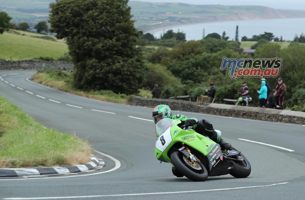 Horst Saiger (750 Kawasaki/Greenall Racing) at the Gooseneck during Tuesday's Motorsport Merchandise Superbike Classic TT race. PICTURE BY DAVE KNEEN