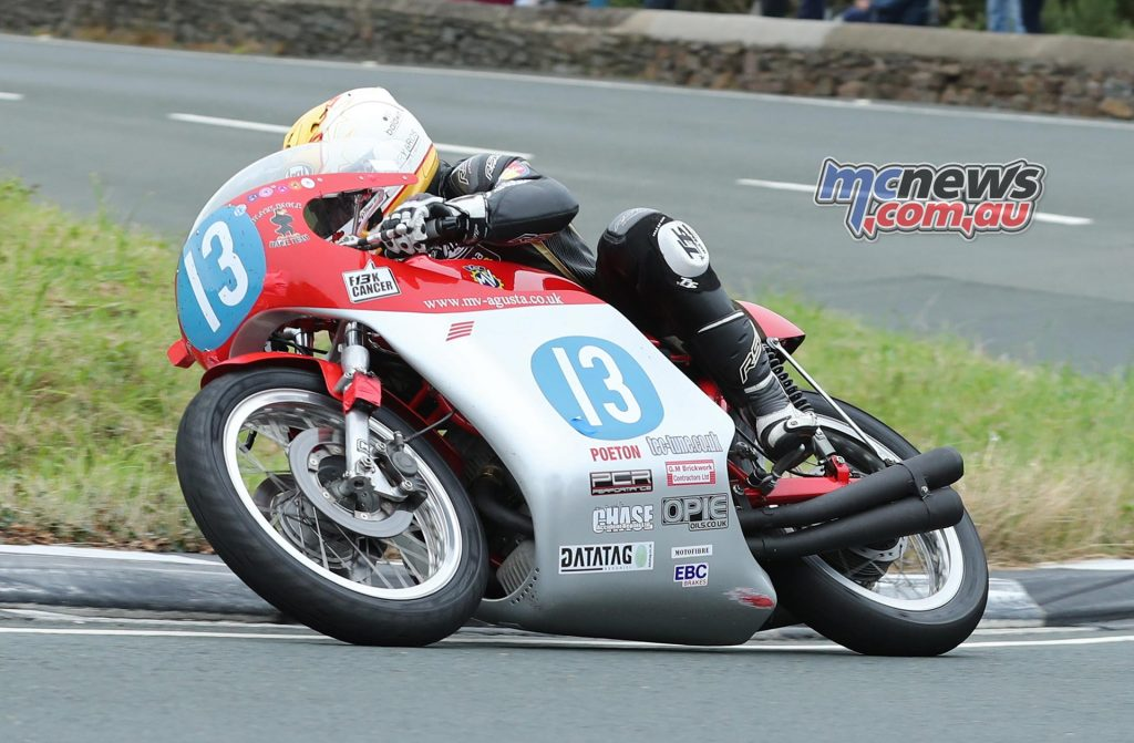 Lee Johnston (350 MV Agusta/Black Eagle Racing) at the Gooseneck during the Sure Junior Classic TT race. PICTURE BY DAVE KNEEN