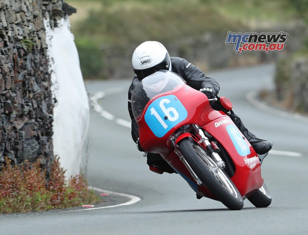 Philip McGurk (350 Honda/Chris Hughes), winning privateer, at Tower Bends during the Sure Junior Classic TT race. PICTURE BY DAVE KNEEN