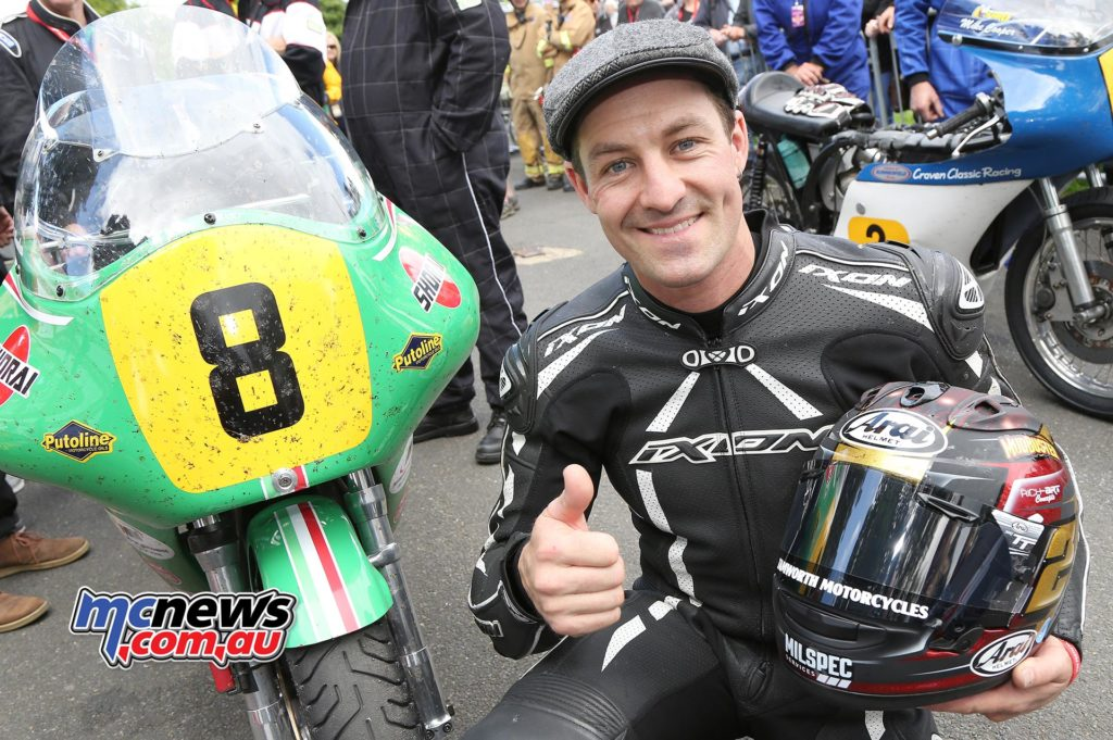Josh Brookes celebrates his first Classic TT win. Photo Stephen Davison / Pacemaker Press Intl