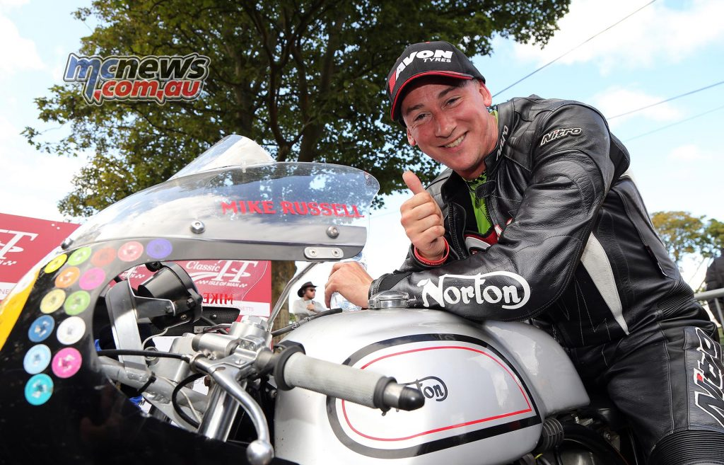 Michael Russell took the Privateers' win on the Izzard Racing Manx Norton. Photo Stephen Davison / Pacemaker Press Intl