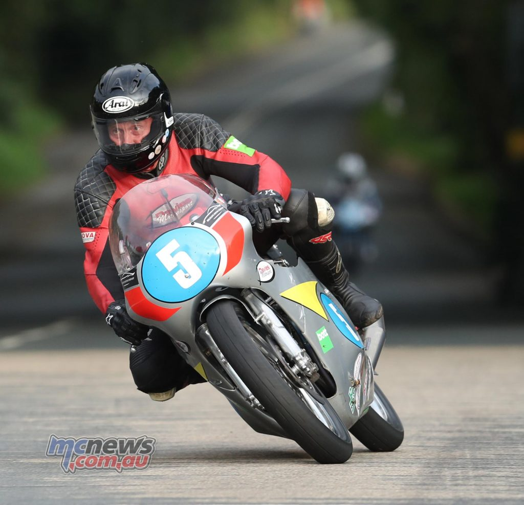 Alan Oversby (350 Honda/Davies Motorsport) at Ballacraine during qualifying for the Bennett'€™s Classic TT.