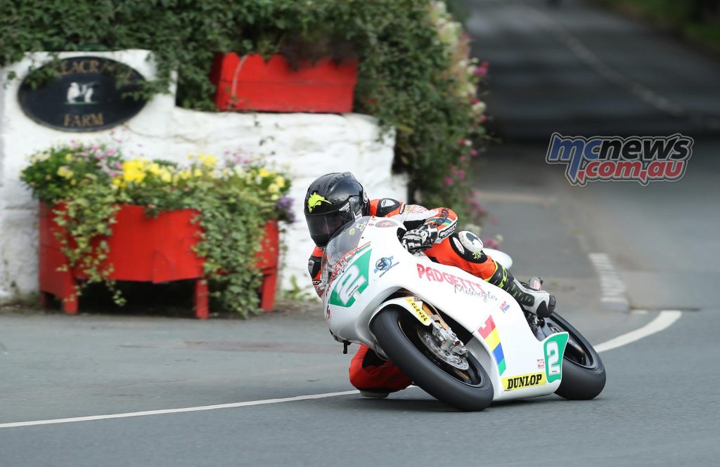 Bruce Anstey (250 Honda/Padgetts Motorcycles.com) at Ballacraine during qualifying for the Bennett's Classic TT.