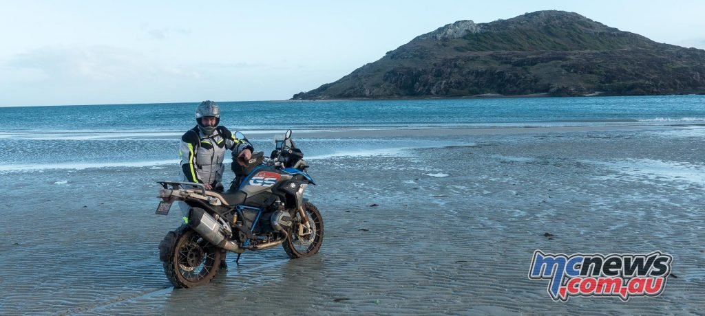 Trev and the new for 2017 BMW R 1200 GS Rallye X on the beach at Cape York