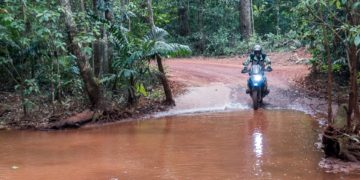 Trev fords a floodway on a track near Roma Flats in FNQ
