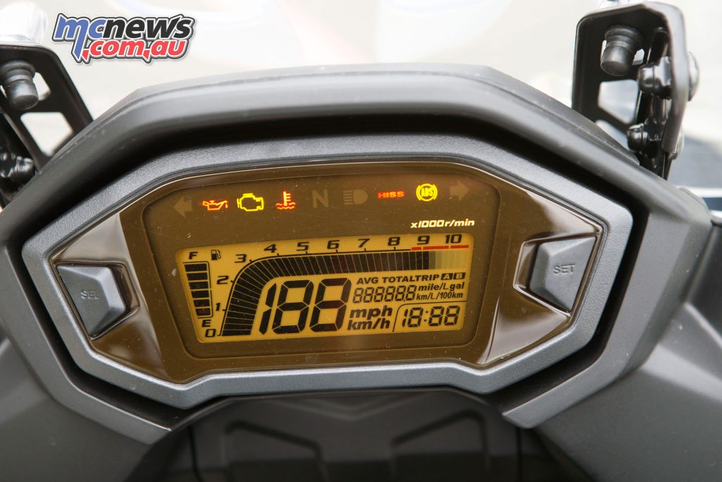 An LCD display provides ideal information at a glance