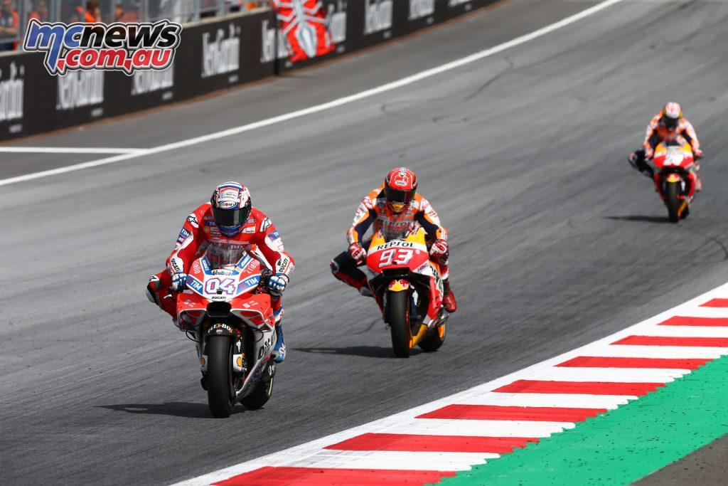 Dovizioso leading Marquez and Pedrosa