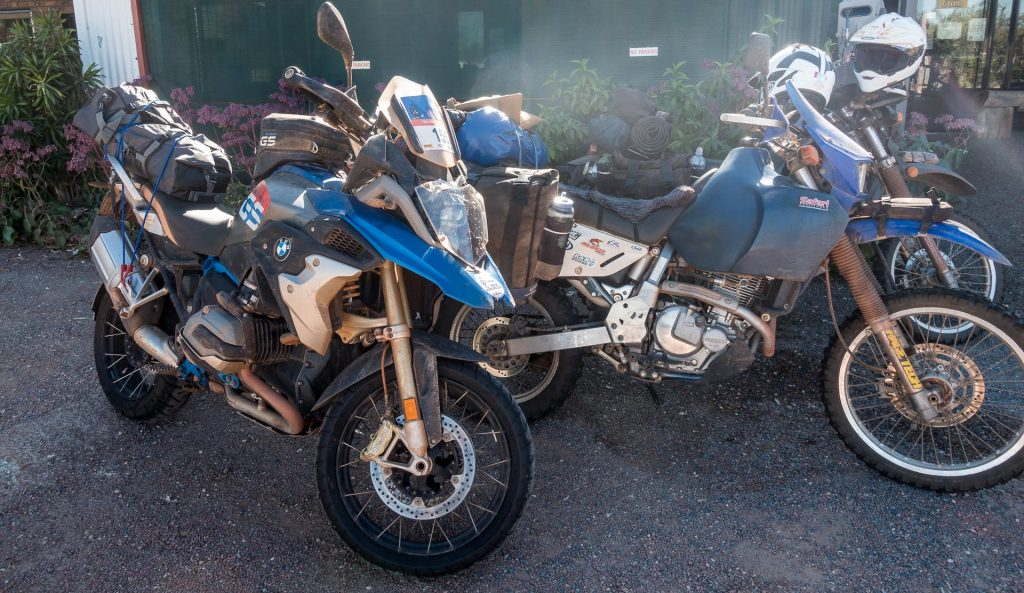 Under 10k with farkles for the DR650, alongside almost 30k's worth of BMW R 1200 GS Rallye X