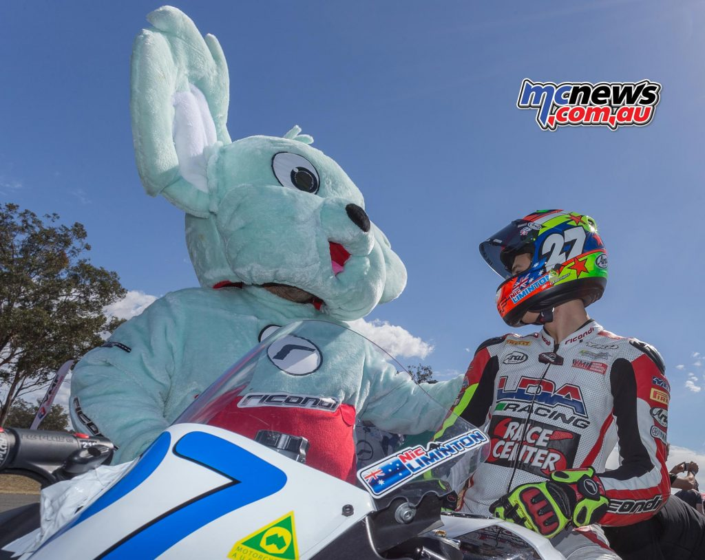 Nic Liminton on the grid with the Ricondi bear - Image by TBG