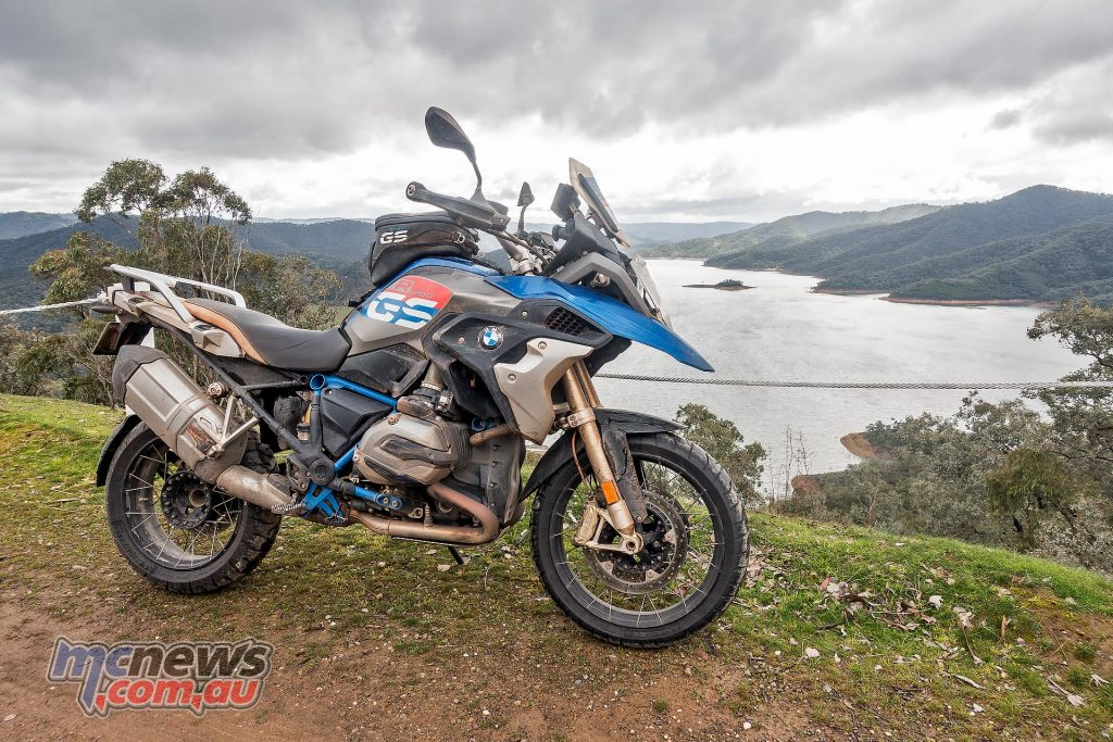 The BMW R 1200 GS RallyeX pictured in my own backyard after the trip, Lake Eildon