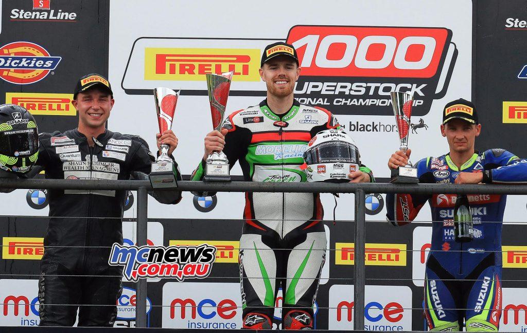 Pirelli National Superstock 1000 race (15 laps) Danny Buchan (Kawasaki) Richard Cooper (Suzuki) Mason Law (Kawasaki)
