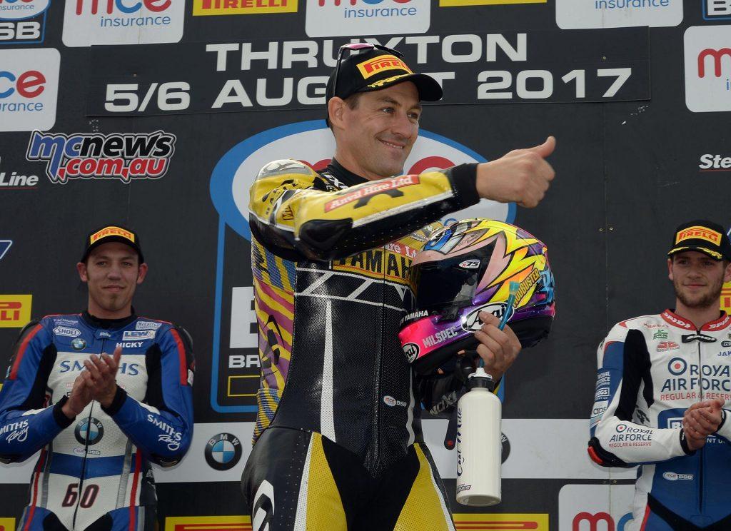 BSB 2017 - Round Seven - Thruxton - Superbike Race One Results Josh Brookes (Anvil Hire TAG Yamaha) Peter Hickman (Smiths Racing BMW) +1.026s Jake Dixon (RAF Reserves Kawasaki) +1.774s