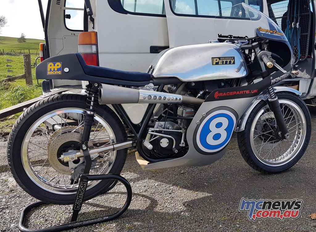 The Maxn Norton Cam Donald is riding at the Classic TT