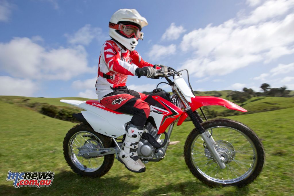 The big wheel CRF125FB features a 19/16in wheel combo and is significantly taller with a longer reach to the ground as a result