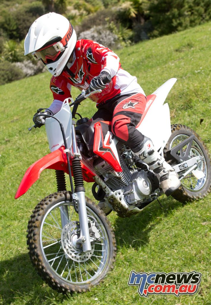 The CRF125F is the smaller wheeled version and 50mm lower at the seat
