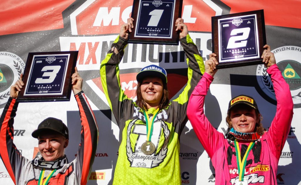 Yamaha Motor Finance Womens' Australian Motocross Championship 1) Maddy Brown – 137 points – Yamaha 2) Jessica Moore – 131 points – KTM 3) Tori Dare – 118 points – Yamaha