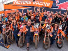 Jeffrey Herlings won his second MXGP ahead of Tony Cairoli and Glenn Coldenhoff to complete an MXGP 1-2-3 for KTM.  To cap off a historic total domination of the event for the Austrian manufacturer, Jorge Prado Garcia had also led home at KTM 1-2-3 in MX2.