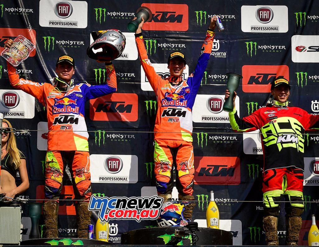 MX2 Overall Top Ten Jorge Prado Garcia (ESP, KTM), 47 points Pauls Jonass (LAT, KTM), 41 p. Julien Lieber (BEL, KTM), 38 p.