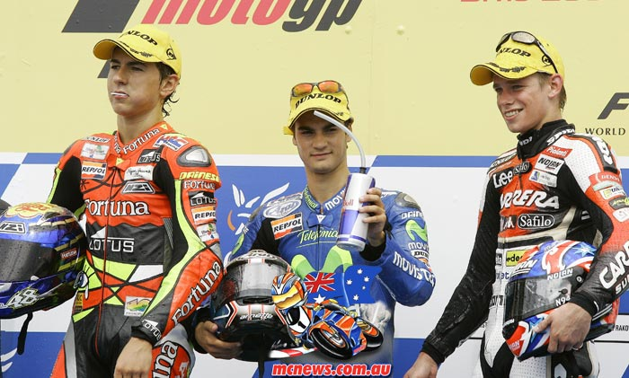 Dani Pedrosa topped the 250cc Podium at Brno in 2005 ahead of Jorge Lorenzo and Casey Stoner