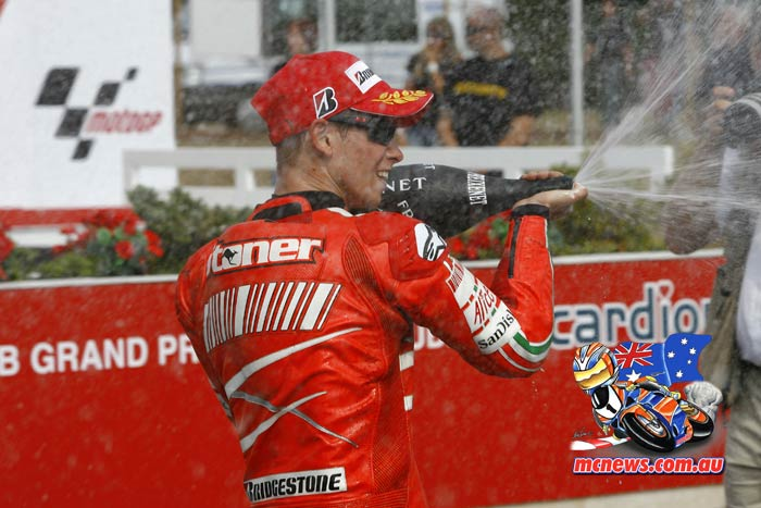 Casey Stoner sprays the champagne at Brno in 2007