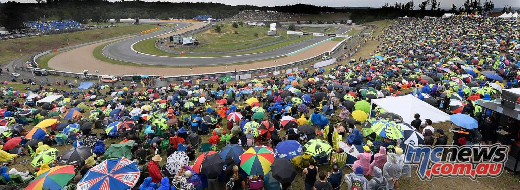 An enthusiastic Caech crowd greeted riders at Brno despite the mixed weather conditions