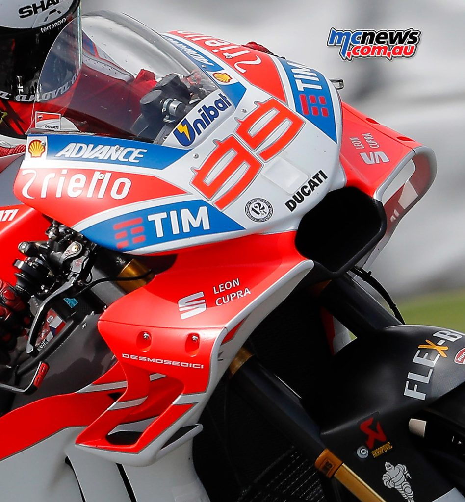 Ducati debuted a radical new front fairing design at Brno yesterday