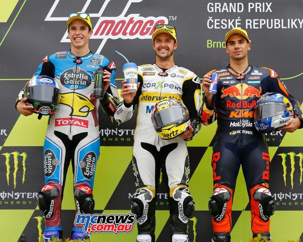 MotoGP 2017 - Round Ten - Brno - Moto2 Race Results Thomas Lüthi (SWI - Kalex) 13'39.036 Alex Márquez (SPA - Kalex ) + 4.991 Miguel Oliveira (POR - KTM) + 6.983