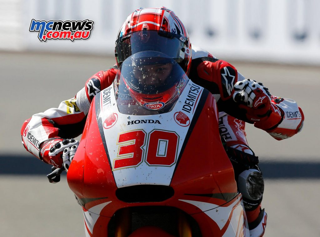 Takaaki Nakagami takes his second GP victory to celebrate his move to MotoGP in style