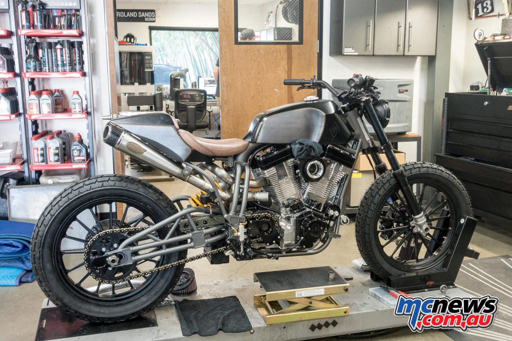 Brad Pitt has been riding this Roland Sands machine for the last couple of years but is in for a freshen up with less chrome and more blacked out treatments